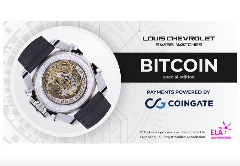 CoinGate and Louis Chevrolet Swiss Watches unite forces to fight with a rare disease